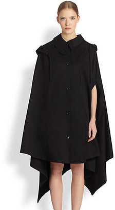 Christophe Lemaire Cotton Twill Asymmetrical Cape