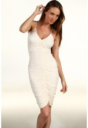 Halston Ruched Front Dress with 1 Self Belt (Chalk) - Apparel