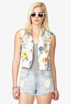Forever 21 Floral Studded Denim Vest
