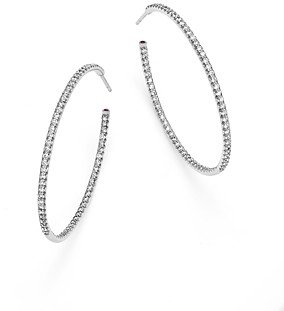 Roberto Coin 18K White Gold Extra Large Hoop Earrings with Micro Pave Diamonds