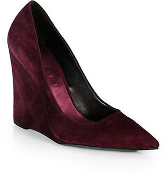 Burberry Fanning Suede Wedge Pumps