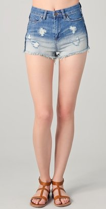 Blank High Waisted Shorts with Raw Hem