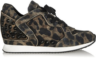 Ash Delire studded cheetah-print suede wedge sneakers