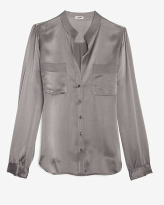 L'Agence Exclusive Topstitch Blouse: Silver