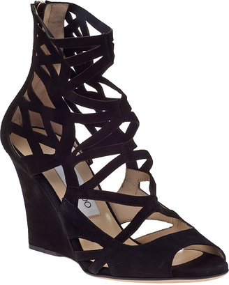 Jimmy Choo Vanity Wedge Sandal Black Suede
