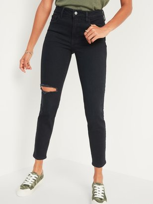 Old Navy High-Waisted O.G. Straight Ripped Black Ankle Jeans for Women