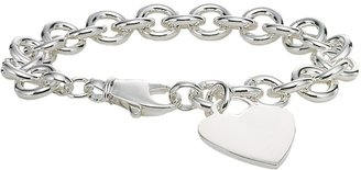 Ice.com Sterling Silver Heart Tag Bracelet With Lobster Clasp