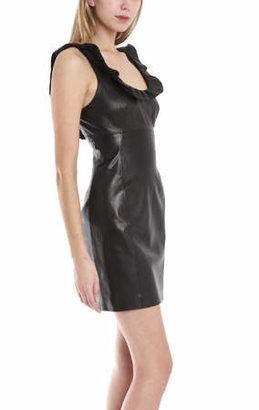 L'Agence Ruffle Neck Leather Dress