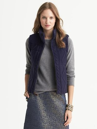 Banana Republic Heritage Cable-Knit Puffer Vest