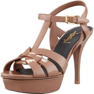Saint Laurent Patent Leather Mid-Heel Tribute Sandal, Sand