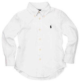 Ralph Lauren Linen Long-Sleeve Blake Shirt, White, 4-7