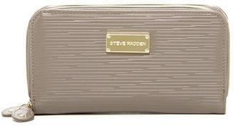 Steve Madden Patent Double Zip Around Wallet $48 thestylecure.com