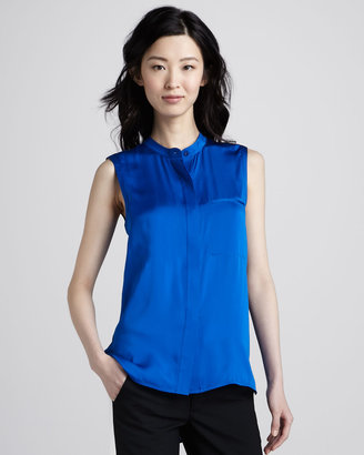 Vince Sleeveless Charmeuse Blouse