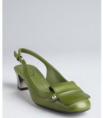 Tod's green leather short block heel slingback