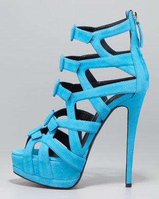 Giuseppe Zanotti Suede Multi-Buckle Sandal, Blue