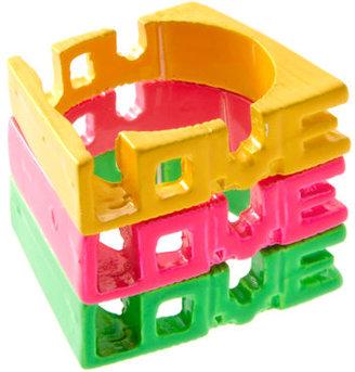 Asos Pack of Three Neon Love Rings