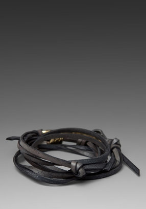 Giles & Brother Hook Leather Bracelet in Grey/Brass