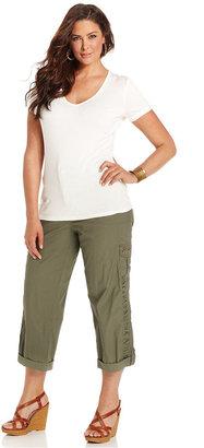 Style&Co. Plus Size Pants, Studded Cargo Capri
