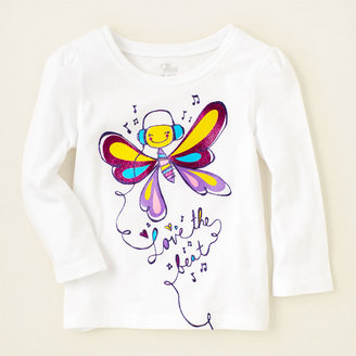 Children's Place Butterfly headphones graphic tee