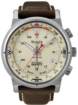 Timex 'Intelligent Quartz' Leather Strap Compass Watch