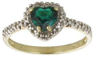 10k Gold Lab-Created Emerald & Diamond Accent Heart Ring