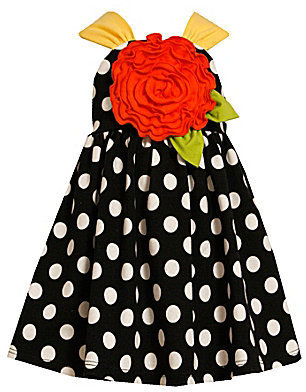 Bonnie Jean 7-10 Dotted/Rose-Appliqued Dress