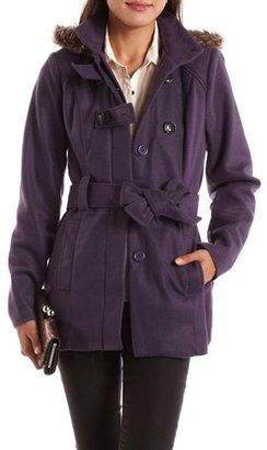 Charlotte Russe Fur Hood Tie-Waist Fleece Coat