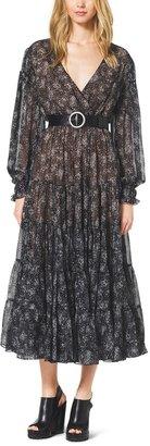 Michael Kors Bohemian-Print Silk-Chiffon Wrap Dress