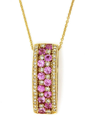 EFFY COLLECTION 14 Kt. Yellow Gold, Pink Sapphire and Diamond Pendant, .37CTW