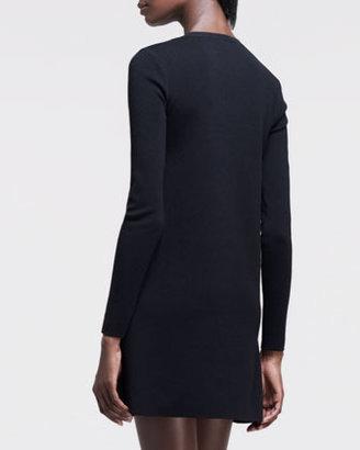 Valentino Long-Sleeve Lace-Yoke Shift Dress