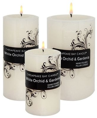 White Orchid and gardenia rustic pillar candle