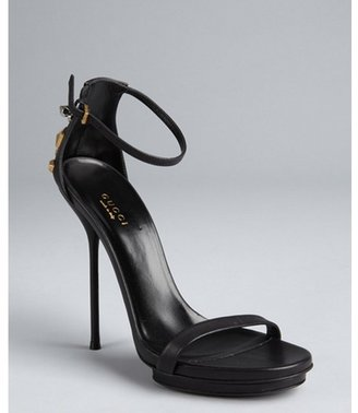 Gucci black leather studded heel ankle strapped platform sandals