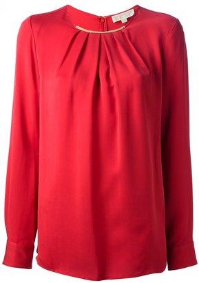 MICHAEL Michael Kors pleated long sleeve blouse