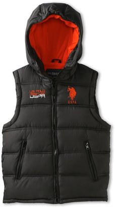 U.S. Polo Assn. Kids - Double Quilted Puffer Vest (Big Kids) (Charcoal) - Apparel