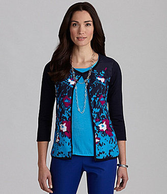 Investments Floral-Print Crepe-Front Cardigan