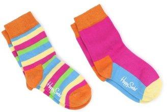 Happy Socks Big Girls' 2 Pack Stripe Sock