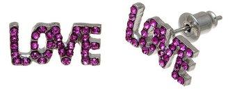 "XOXO silver tone simulated crystal ""love"" stud earrings"
