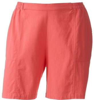 Cathy daniels solid pull-on shorts - women's plus