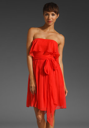 Halston Strapless Flare Dress with Attached Flounce