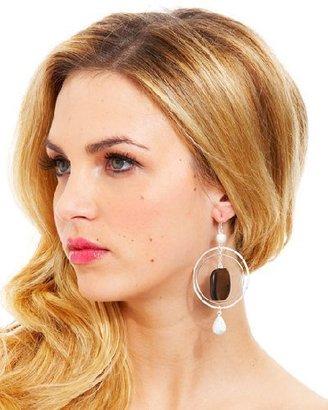 Bebe Diamond Dusted Wood Earrings