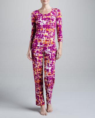Cosabella Taino Crosshatch-Print Pants, Jelly
