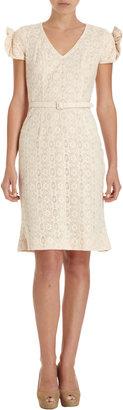 L'Wren Scott Belted Lace Sheath Dress