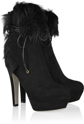Sergio Rossi Shearling-lined suede ankle boots