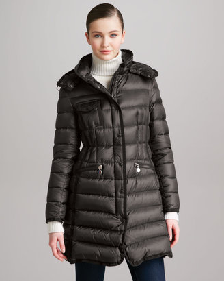 Moncler Long Puffer Coat with Hood, Navy