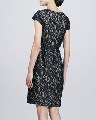 Ivy & Blu Cap-Sleeve Lace & Ponte Dress