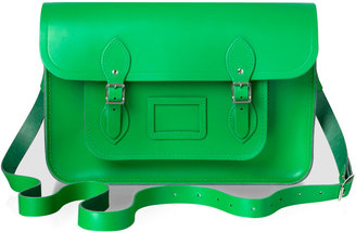 "Cambridge Silversmiths Satchel Company 15"" Classic Leather Satchel, Green"