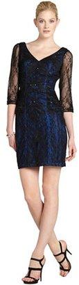 Sue Wong black three quarter sleeve embellished cocktail dress