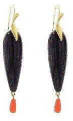 Annette Ferdinandsen Black Onyx Raven Earrings - 10 Karat Yellow Gold