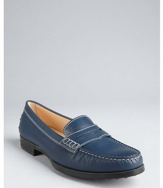 Tod's navy leather moc toe penny loafers