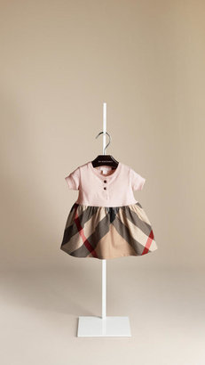 Burberry Check Detail Cotton Dress